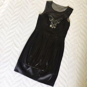 Bisou Black Dress Satin Sequin